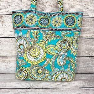VERA BRADLEY Retired Peacock Print Quilted Tote